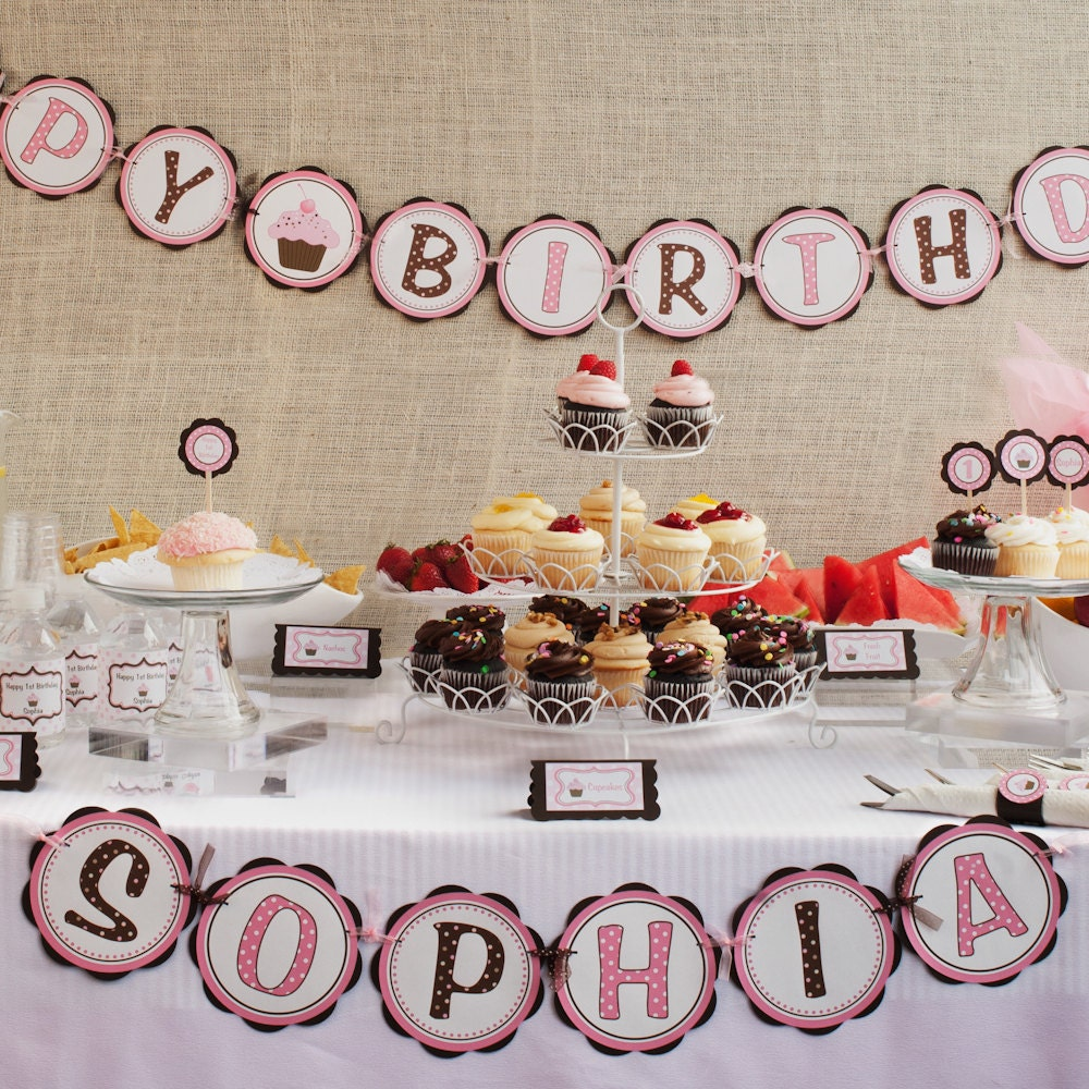 First Birthday Banner Cupcake Happy Birthday