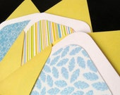 SALE - Set of 6 Mini Cards with Envelopes - Citrus Stripes and Glitter Leaves