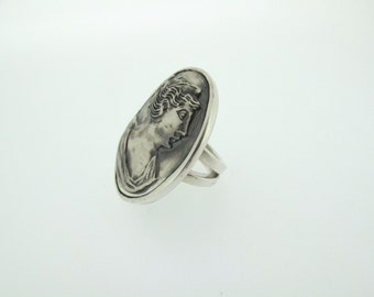Heavy Metal all Silver Cameo Ring