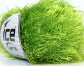 bright green eyelash yarn bulky chunky 50gr polyester ice yarns usa fancy fur craft rug 1 skein ships from usa at usps cost 22786