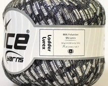 ice ladder ribbon yarns trellis lurex metallic silver black soft sparkly 1 skein yarn shipping charge at USPS cost knitting shimmering
