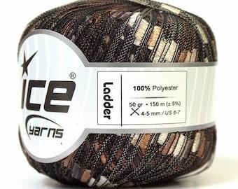 ice ladder ribbon yarn trellis brown shades of brown black 1 skein knitting crochet bulky daily shimmering usa shipping 22108