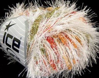 1 skein shimmering eyelash blend yarn ice yarns cancan white rainbow colors red white green yellow super bulky roving