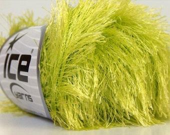 light green eyelash yarn bulky chunky 50gr polyester ice yarns usa fancy fur craft rug 1 skein ships from usa at usps cost 22783