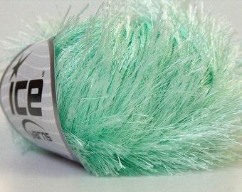 mint light green eyelash yarn ice yarns 1 skein 50gr bulky polyester chunky craft rug yarn turkish us 10 82 yards 1.76 oz 22782
