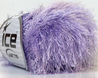 light lilac eyelash novelty yarn bulky chunky 50gr polyester ice yarns usa craft rug 1 skein ships from usa at usps cost novelty 22773