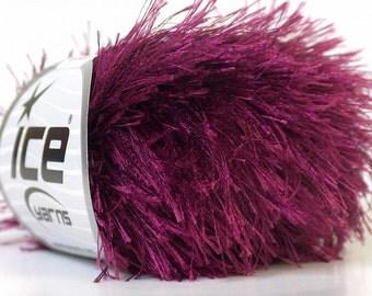 burgundy eyelash yarn novelty 50 gr polyester BULKY chunky craft rug ships from usa at usps cost  yarniness 22796