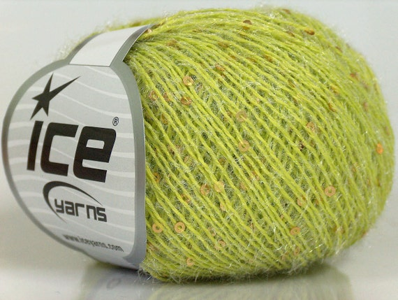 sequin beaded shimmer sparkly yarn ice yarns usa sparkle light green 1 skein 50 gr 2 fine sport baby metallic lurex