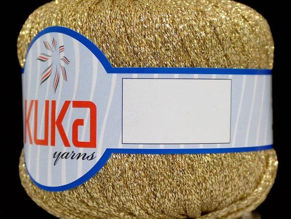 gold 100% metallic lurex lase 1 skein ice yarns kuka bulky chunky craft rug yarn sparkly  shimmering thread