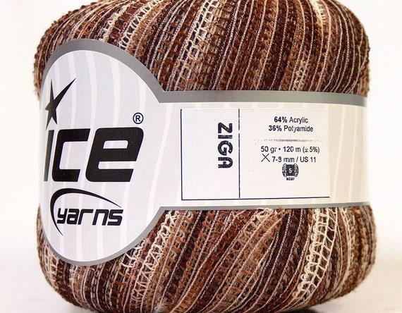 brown shades bulky ribbon yarn chunky craft rug ice yarns ziga 1 skein acrylic ships from usa at usps cost 50gr