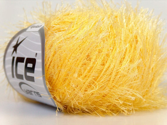 yellow eyelash yarn bulky chunky 50gr polyester ice yarns baby chick usa craft rug 1 skein ships from usa at usps cost 22755