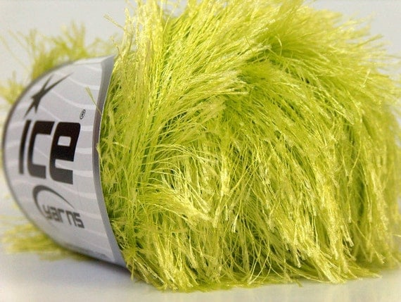 light green eyelash yarn bulky chunky 50gr polyester ice yarns usa fancy fur craft rug 1 skein ships from usa at usps cost 22783