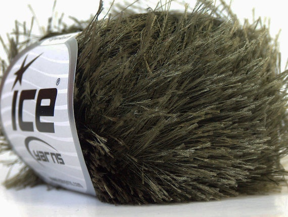 Eyelash Yarn : khaki green eyelash yarn bulky chunky 50gr polyester ice yarns usa ...