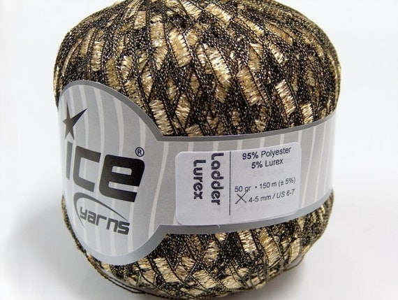 ice ladder ribbon yarns trellis lurex metallic gold soft sparkly 1 skein yarn shipping charge at USPS cost pattern knitting shimmering