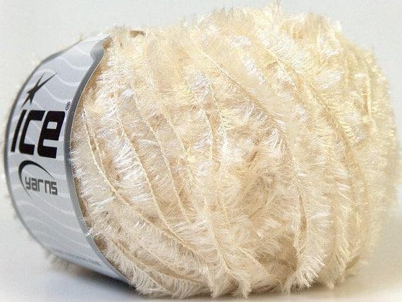 shimmering metallic lurex white light cream eyelash type yarn 1 skein  polyester ice yarns crystal beautiful knitting fashion
