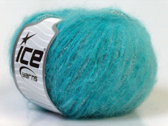 mohair wool blend yarn ice yarns turquoise white blue fuzzy soft 1 skein 50 gr ships from usa
