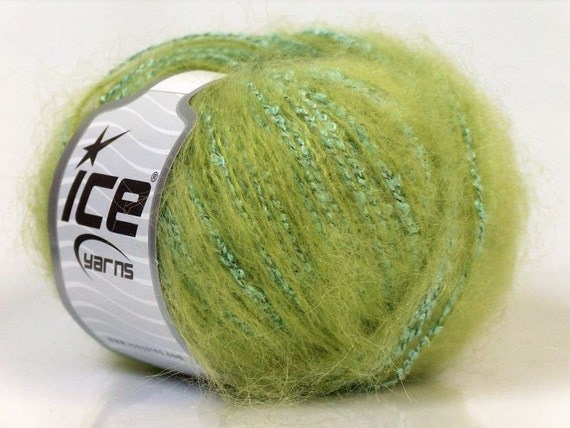 mohair wool blend yarn ice yarns green turquoise fuzzy soft 1 skein 50 gr ships from usa 76 yards fiber content acrylic polyester