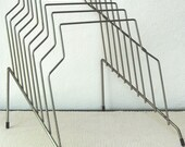 Mid Century Stepped Silver Wire Metal Paper Magazine Organizer Rack