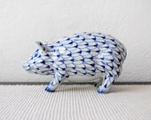 Vintage Blue White Painted Ceramic Delft Style Art Pig