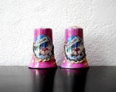 Pair Of Vintage Summer Flamingo Palm Tree Salt Pepper Shakers