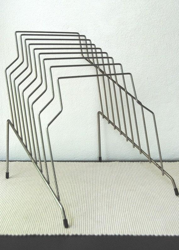 Mid Century Stepped Silver Wire Metal Paper Magazine Organizer Rack