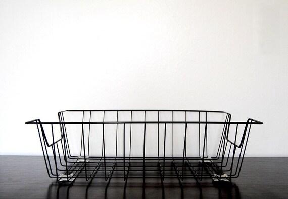 Vintage Black Metal Wire Letter Basket