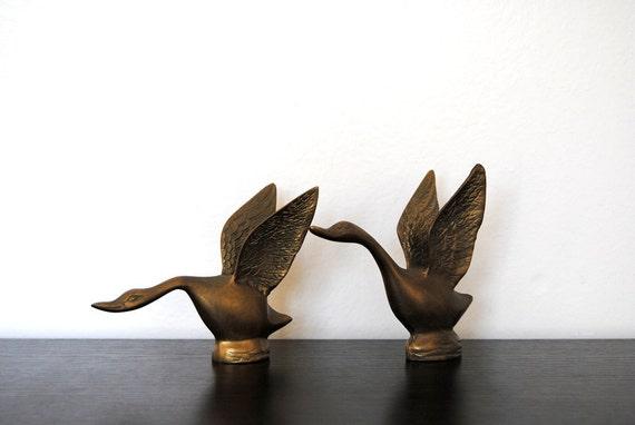 Pair Of Mid Century Geese Birds