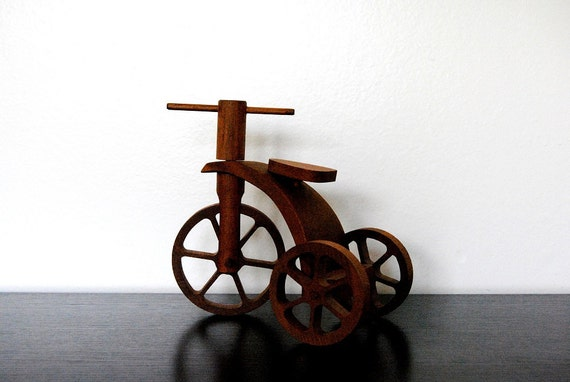 Small Old Wood Tricycle Toy