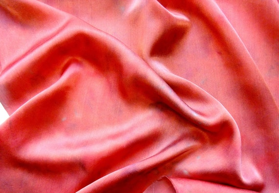 Copper Red Hand Dyed Silk Charmeuse Fabric Quarter