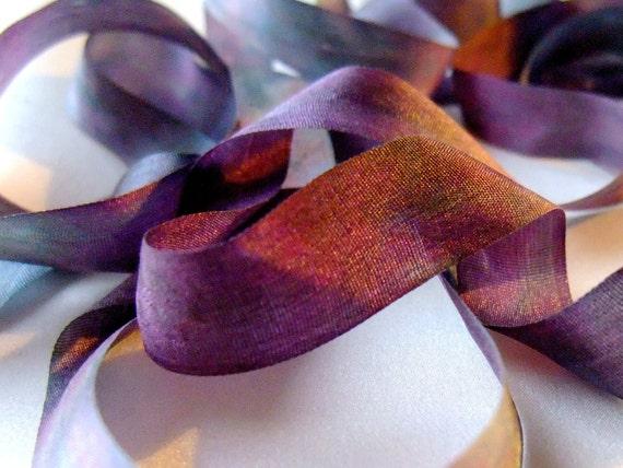 Hand Dyed Silk Ribbon 13mm Dusk