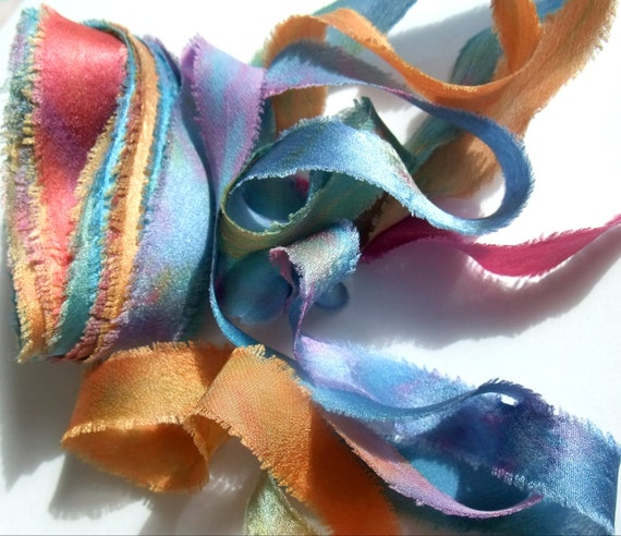 Hand Dyed Silk Charmeuse Bias Cut 1/2 Inch Ribbon Candle Glow