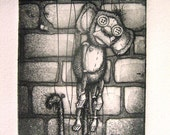 Monkey Puppet etching