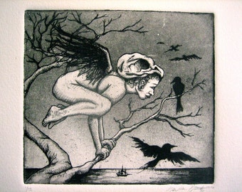 The Messenger, crow girl etching