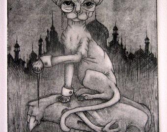 SENTINEL, hairless sphinx cat etching