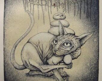 Hairless cat etching