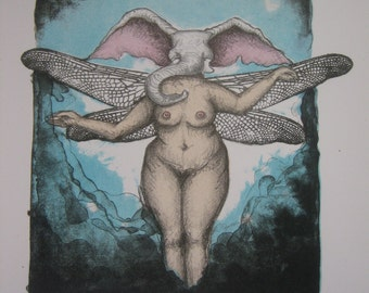 Elephant dragonfly woman lithograph