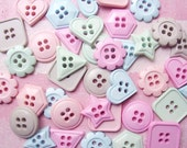 50 pcs. of  Cute Assorted Shapes  Buttons  in Mixed  Pastel Colors / Round, Square, Star, Heart, Flowers, Triangle, Hexagon 17mm-20mm