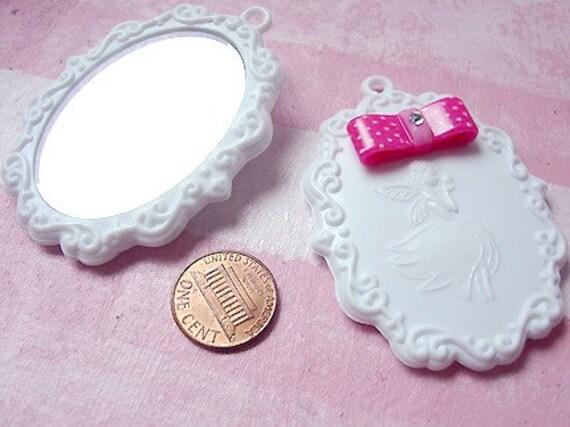 2 pcs. of Elegant Fairy Mirror Pendant \/ Charm with Pink Polka Dot Bow and Rhinestone