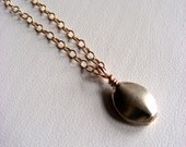 A Simple Drop of Sterling Silver Necklace on Gold Filled Chain 14kt