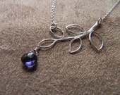 Delicate Sterling Silver Branch and Iolite Chain Necklace