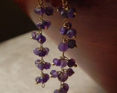 Amethyst and Vermeil Cluster Chain and Gold Filled Earrings Black Friday Cyber Monday Holiday Sale