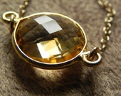 Large Faceted Citrine Vermeil Pendant and Gold Filled Suspension Necklace November Birthstone Gifts For Her Gfits Under 50