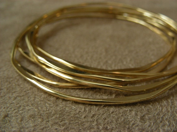 Six Hammered Gold Plated Bangles