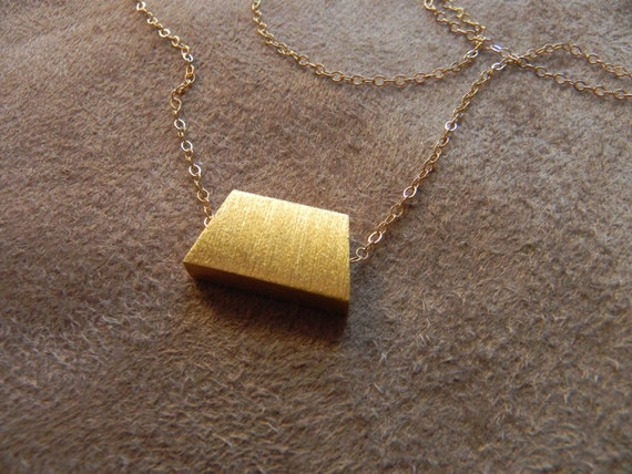 SALE  Brushed Vermeil Trapezoid and Gold Fill Necklace geometric jewelry   SALE 14kt