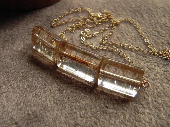 Natural Amber Quartz Modern Trio Block and Gold Filled Chain Necklace  VALENTINE SALE 14kt