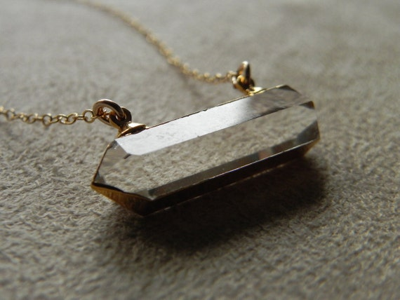 Crystal Quartz Point Double Ended Pendant and Gold Fill Necklace