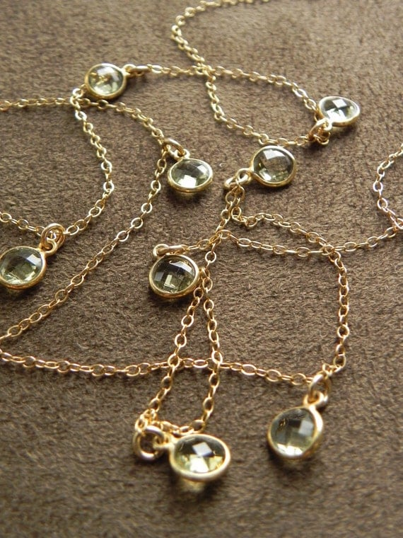 SALE  Green Amethyst Coin Drop Necklace on Gold Filled Chain 28 Inch SALE 14kt