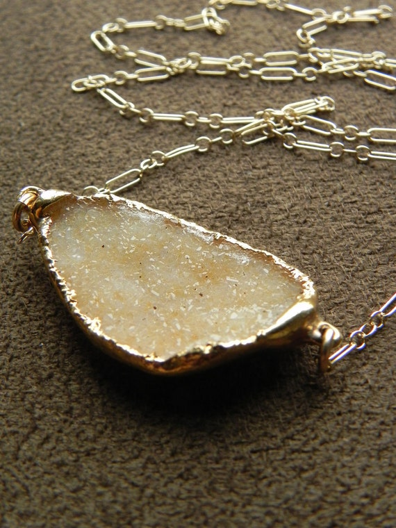 Warm Druzy Brazilian Agate Pendant and Gold FIlled Chain Necklace - Double Bail 14kt