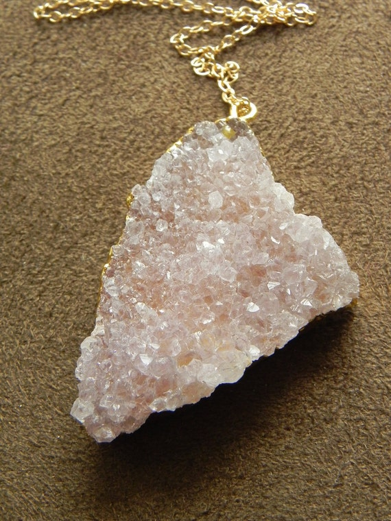 Drusy Pink Amethyst Slice and 14kt Gold Filled Chain Necklace Druzy Pale Purple