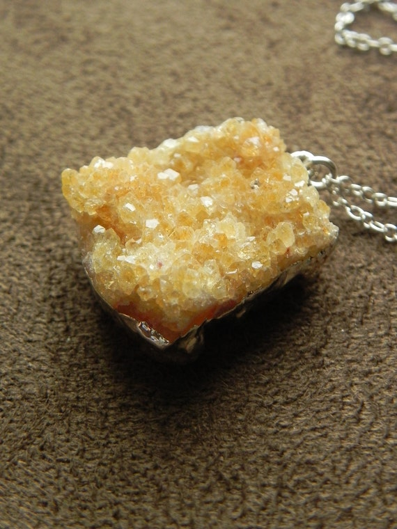 Natural Drusy Citrine Cluster Pendant and Sterling Silver Long Necklace November Birthstone geode druzy 925